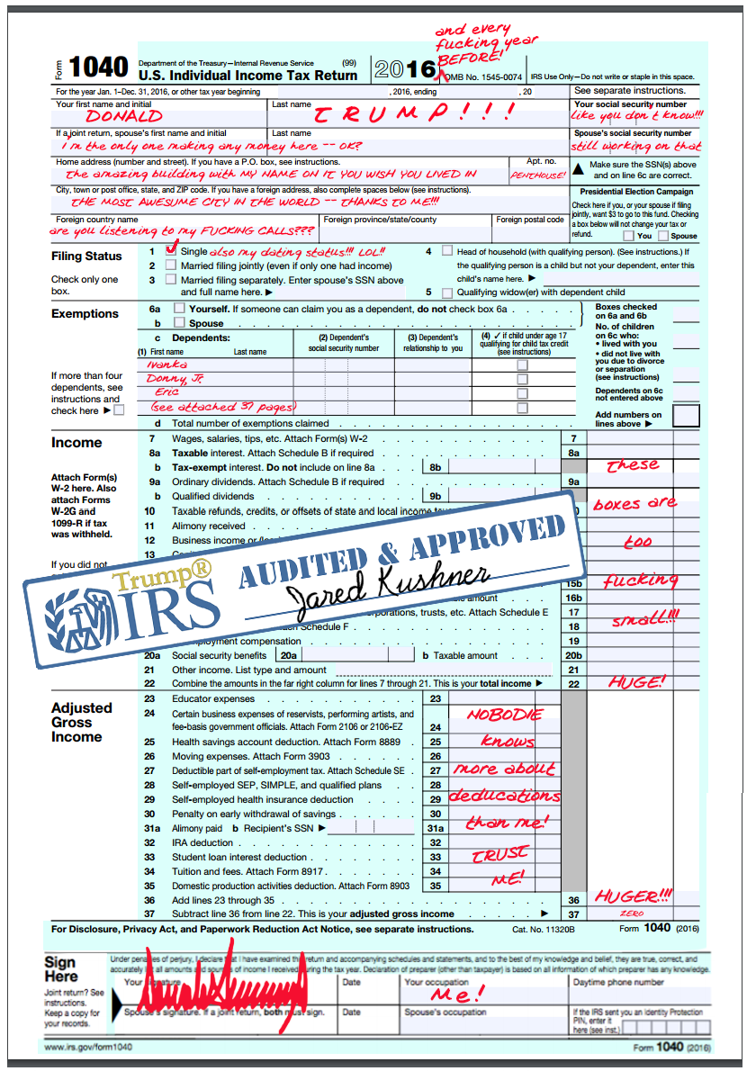 Donald Trump 1040 Tax Return