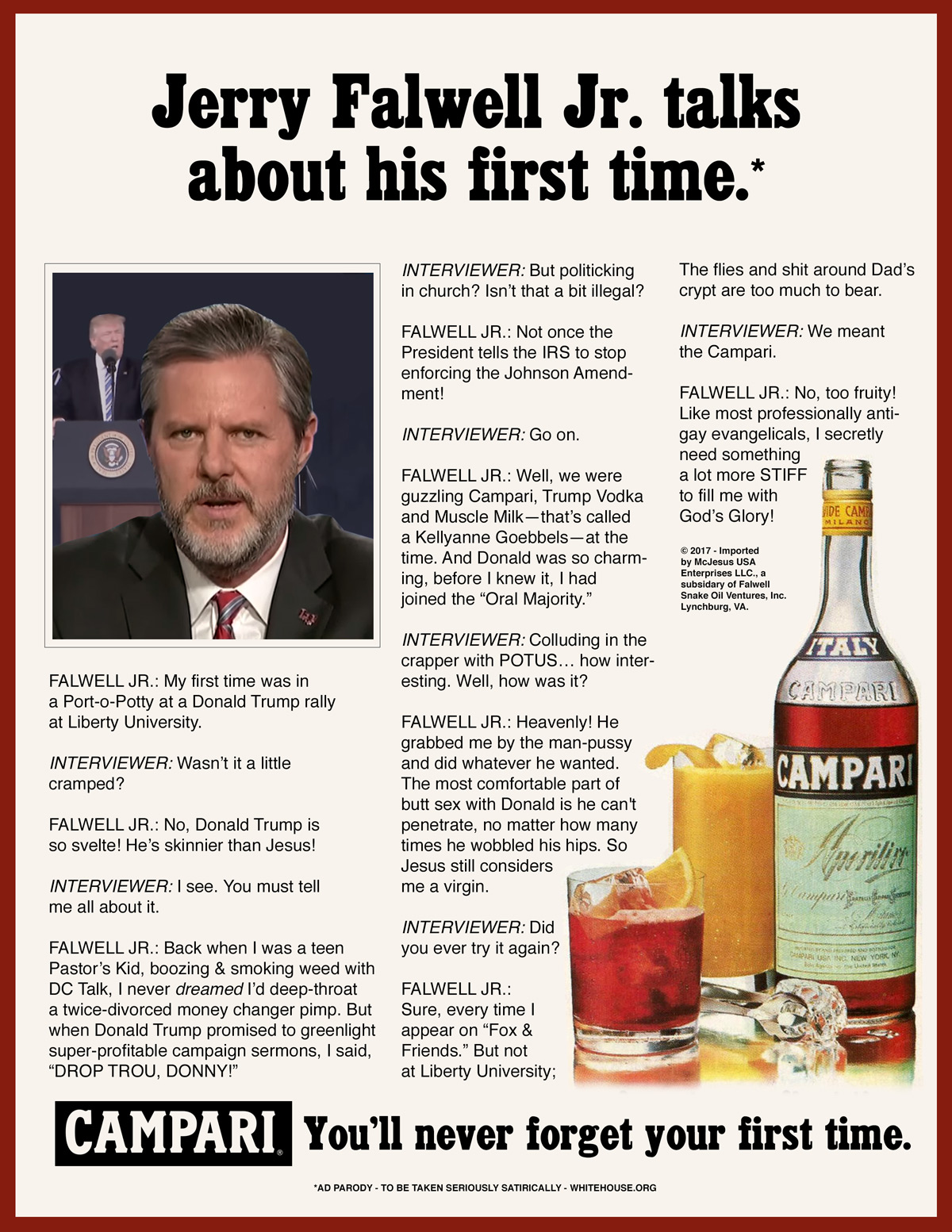 Jerry Falwell Jr. Talks About His First Time